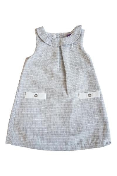 76a58fd213a Baby Girls Silver Tweed Dress